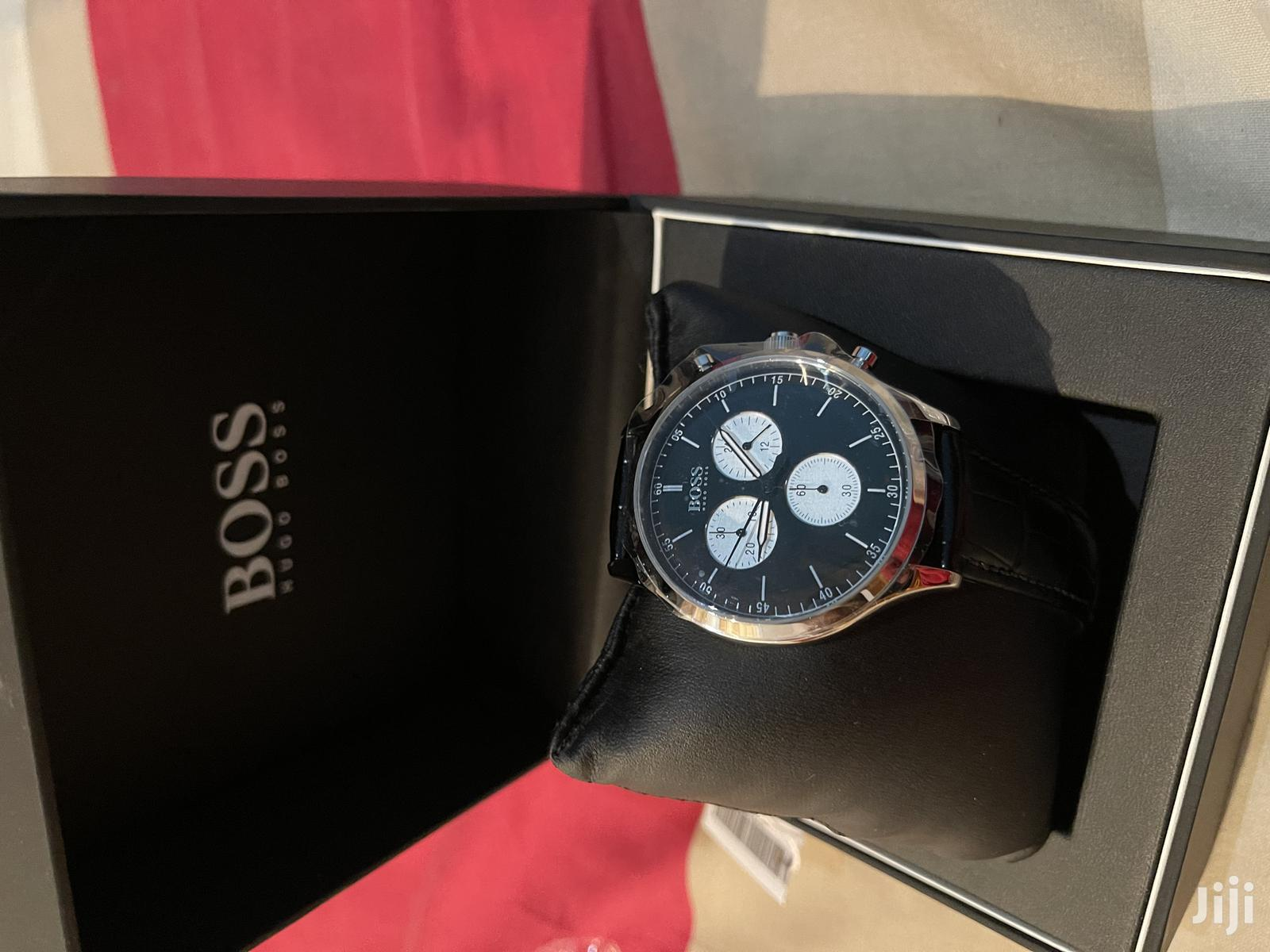 Boss ( Hugo Boss Chronograph Watch ) Black Genuine Leather   Watches for sale in Dansoman, Greater Accra, Ghana