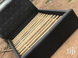 Black Double Leather Bed Frame   Furniture for sale in Greater Accra, Agbogbloshie
