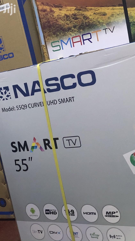 """Nasco 55"""" Curved Uhd Smart 4K Digital Satellite LED TV"""