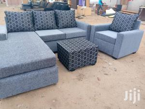 Made With High Quality Fabric Ash Color L Shaped Sofa | Furniture for sale in Greater Accra, Adabraka
