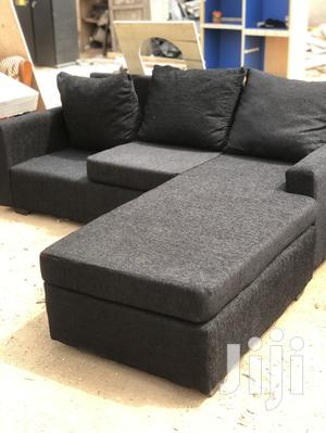 Deep Black Colour L-Shaped Sofa Chair With Centre Table   Furniture for sale in Greater Accra, Adabraka