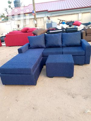 Deep Blue Quality L-Shaped Sofa With Centre Table | Furniture for sale in Greater Accra, Adabraka
