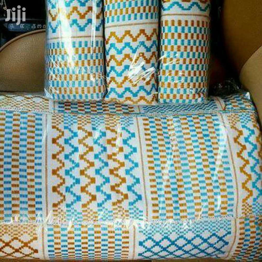 Light Blue, Gold N White Kente