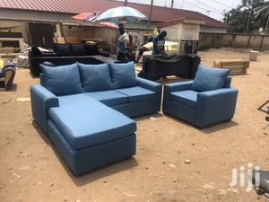Quality Modern Blue Colour L- Shaped Sofa With Centre Tabl | Furniture for sale in Greater Accra, Adabraka