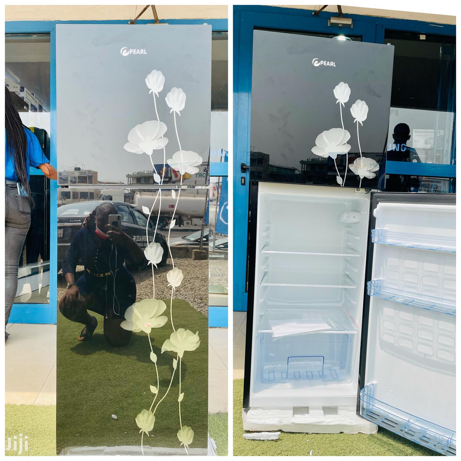 PEARL PF-20T Double Door Refrigerator Black Glass