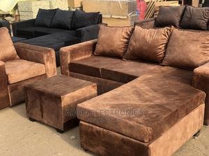 Full Set Brown Colour L-Shaped Sofa Chair   Furniture for sale in Greater Accra, Accra Metropolitan