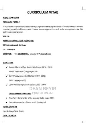 Advertising Marketing CV | Advertising & Marketing CVs for sale in Greater Accra, Weija