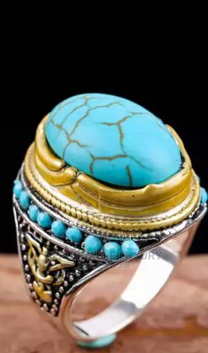 Silver And Turquoise Fashion Ring For Women And Men   Jewelry for sale in Greater Accra, Adenta