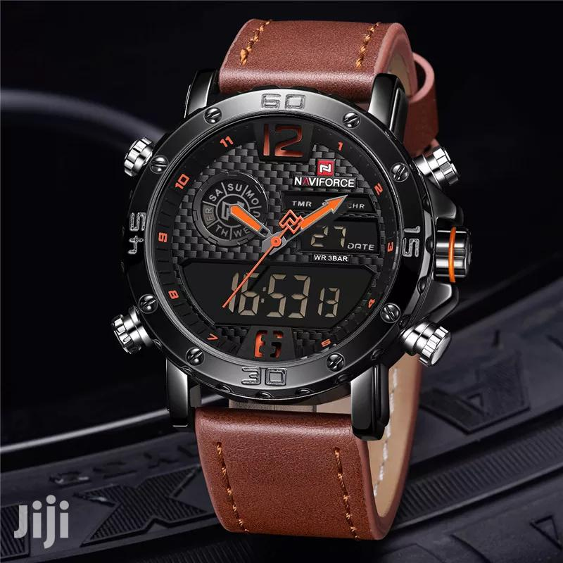 Naviforce 9134 Multifunction Leather Watch