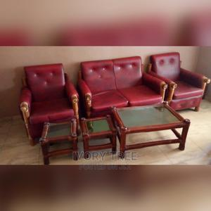 Bamboo and Red Leather Sofa Set | Furniture for sale in Greater Accra, East Legon