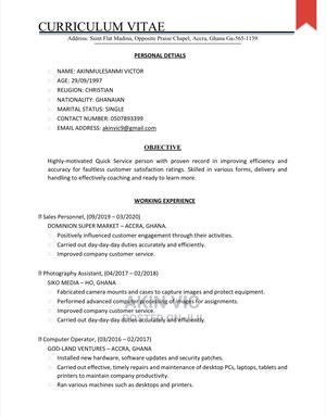 Clerical Administrative CV | Clerical & Administrative CVs for sale in Greater Accra, Madina