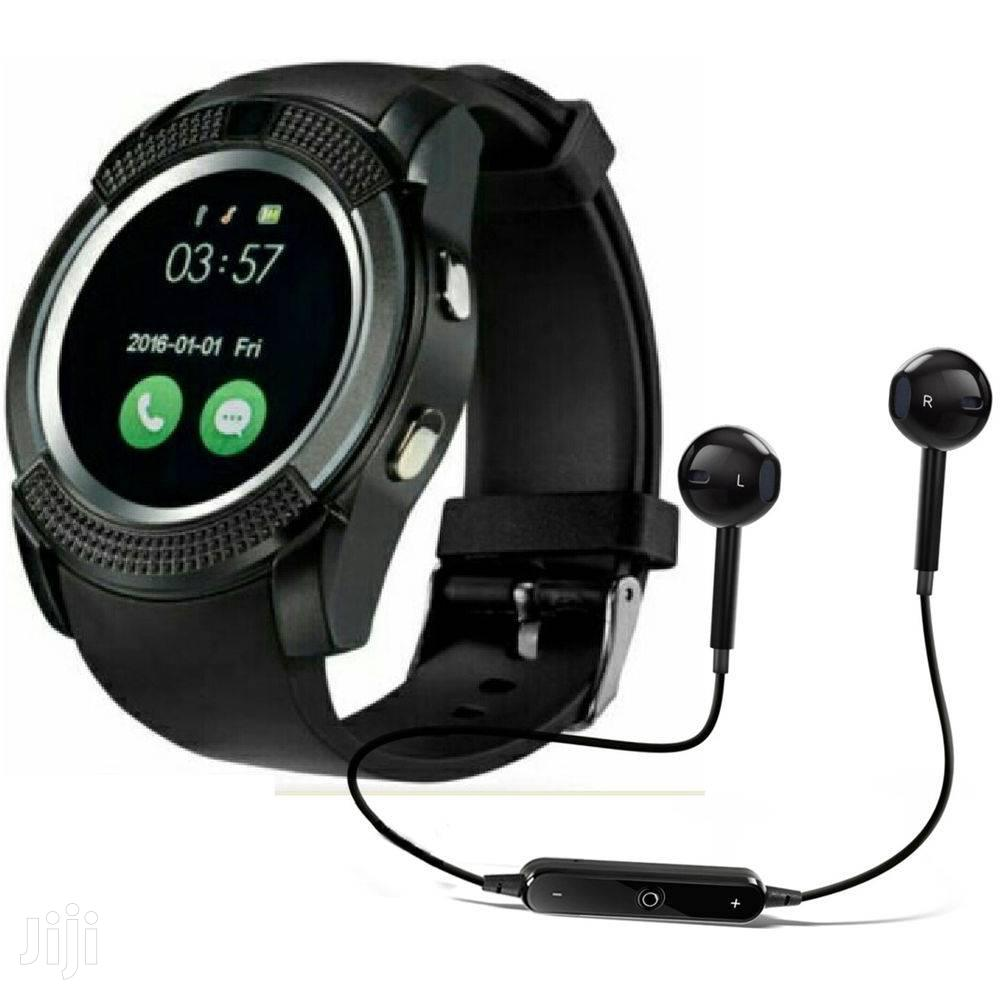 V8 Smart Watch With Wireless Earphone | Smart Watches & Trackers for sale in Achimota, Greater Accra, Ghana