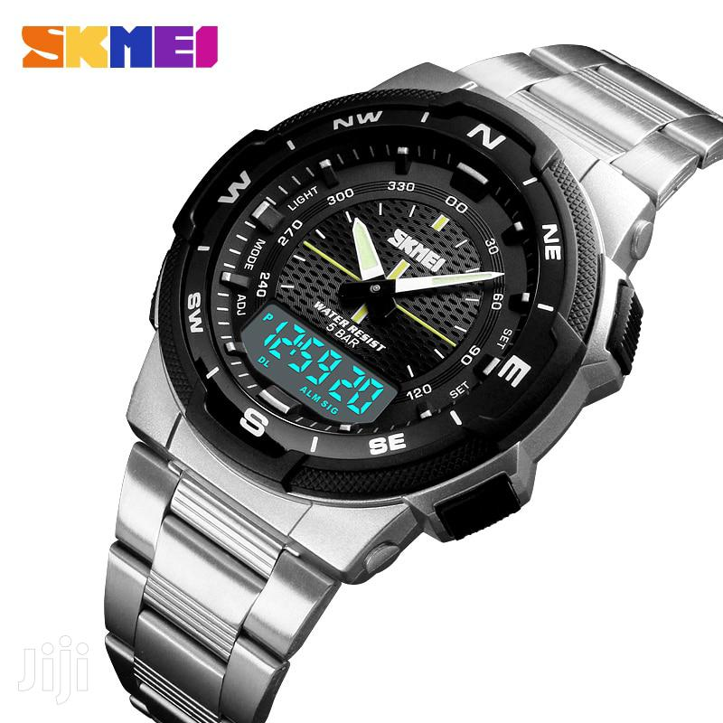 Silver Stainless Analogue& Digital Skmei Wrist Watch | Watches for sale in Achimota, Greater Accra, Ghana