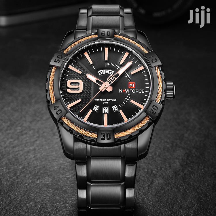 NAVIFORCE 9117 Waterproof Rosegold & Black Chain Watch