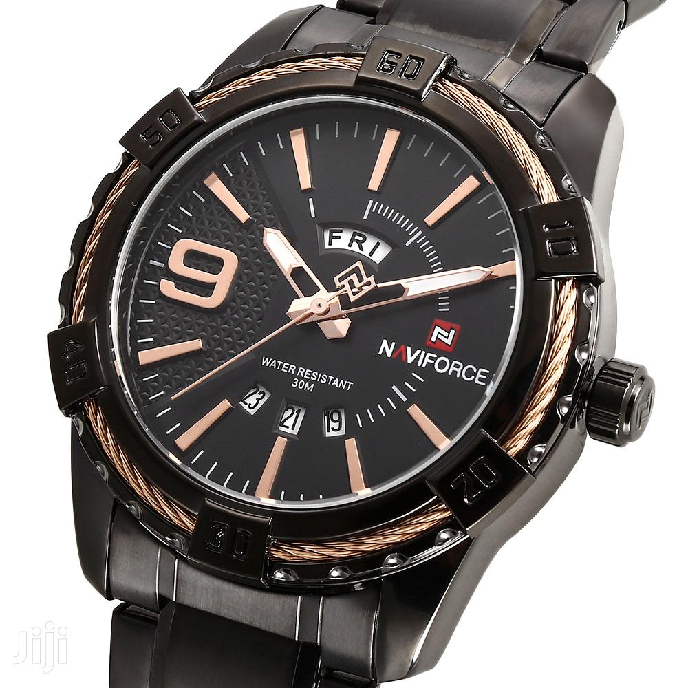 NAVIFORCE 9117 Waterproof Rosegold & Black Chain Watch | Watches for sale in Achimota, Greater Accra, Ghana