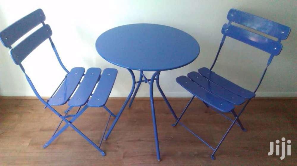 Metal Blue Chairs Table Set Sale