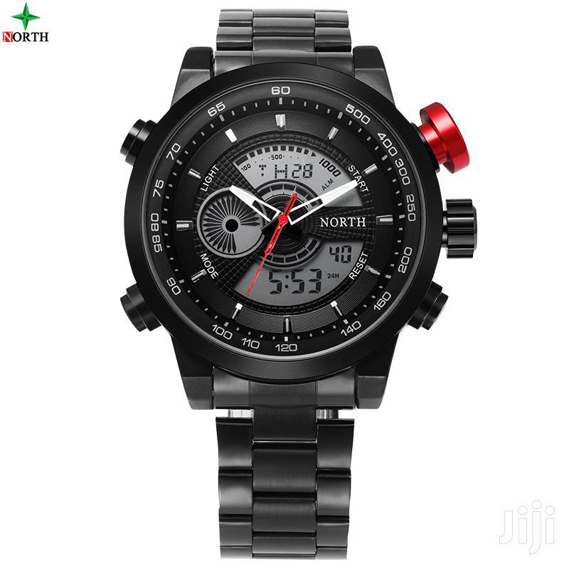North 6015 Luxury Brand Stainless Steel LED Digital & Quartz Watch