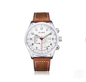 Curren 8152 PU Leather Military Number White Men Wrist Quartz Watch | Watches for sale in Greater Accra, Achimota