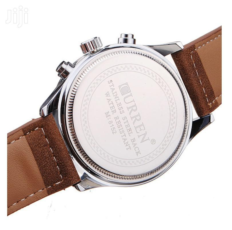 Curren 8152 PU Leather Military Number White Men Wrist Quartz Watch | Watches for sale in Achimota, Greater Accra, Ghana