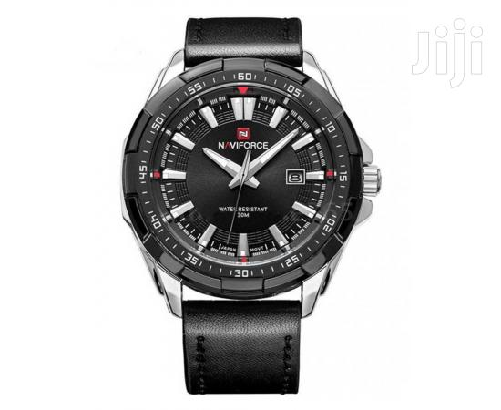 Archive: Analog Leather Fashion Naviforce Watch Black&Silver