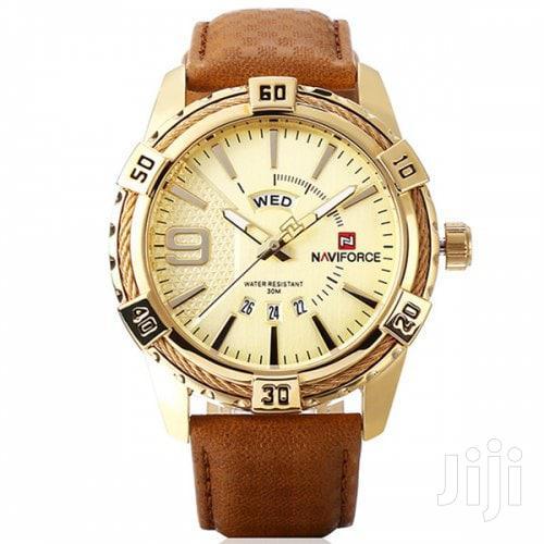 Archive: Naviforce 9117 Men Waterproof Sports Leather Watch GOLD&BROWN