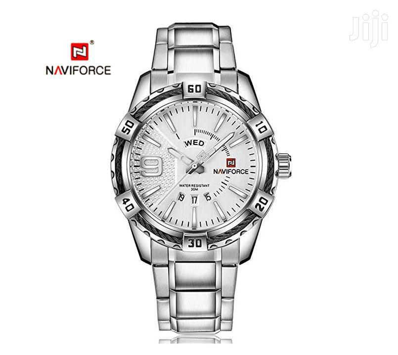 Archive: All Silver Analog Steel Naviforce 9117 Quartz Watch