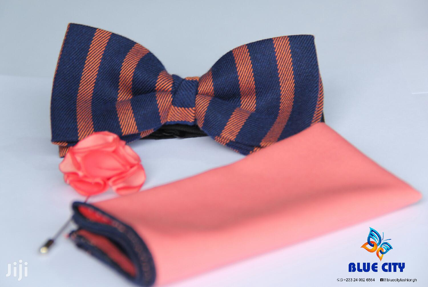 Archive: Navy Blue And Peach Bow Tie Set  Peach Bow Tie  Wedding Bow Tie