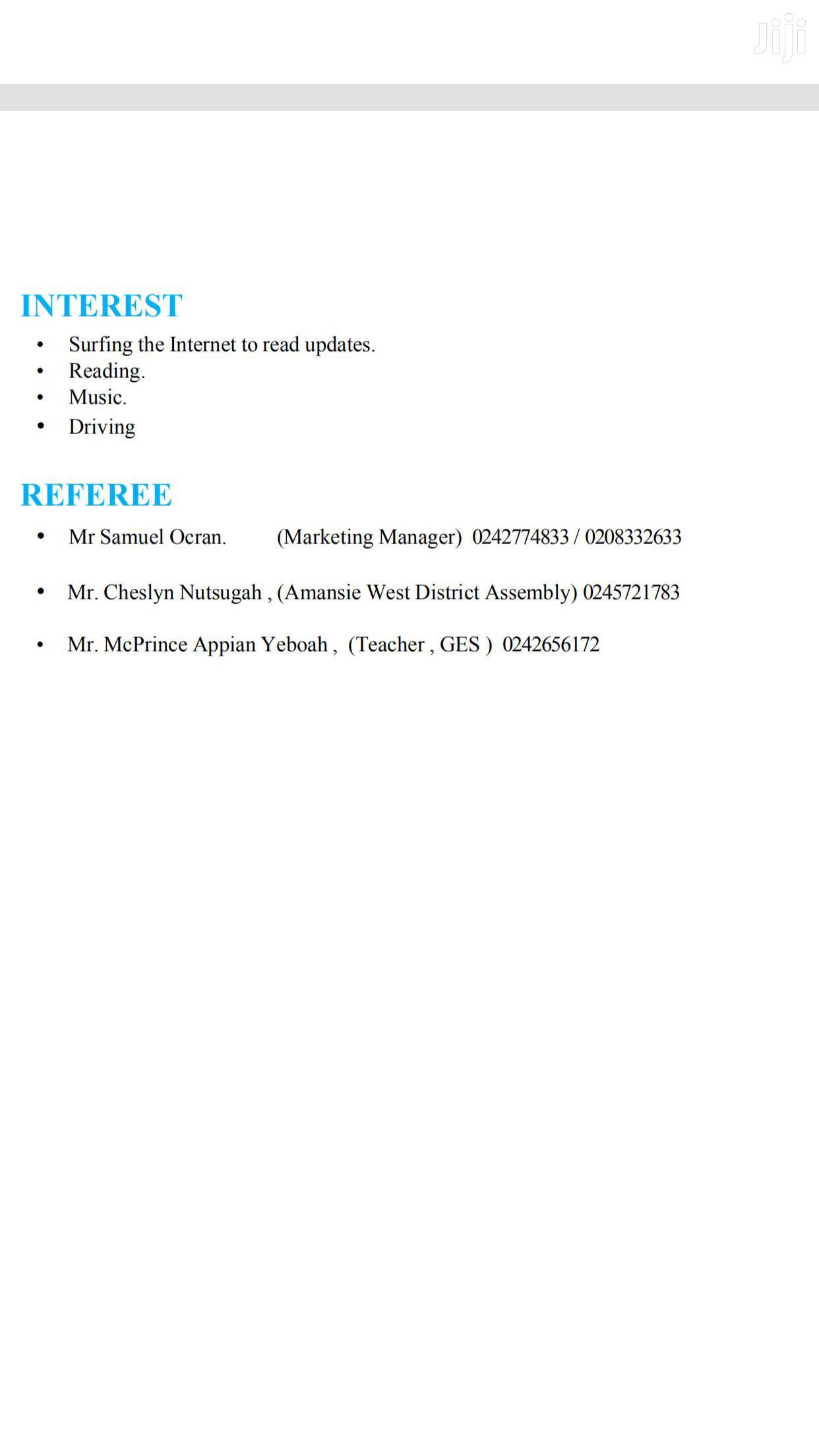 Accounting Finance CV | Accounting & Finance CVs for sale in Kumasi Metropolitan, Ashanti, Ghana