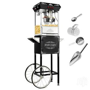 Popcorn Machine Maker Popper With Cart and 8-Ounce Kettle - Black