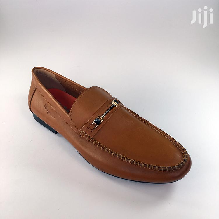 Ferragamo Light Brown Leather Loafers Shoe