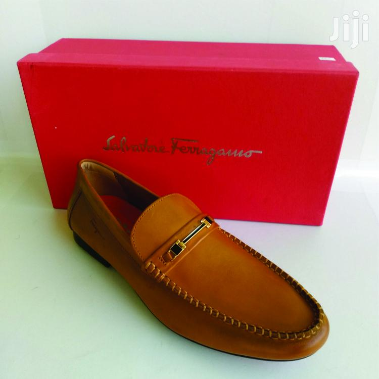 Ferragamo Light Brown Leather Loafers Shoe