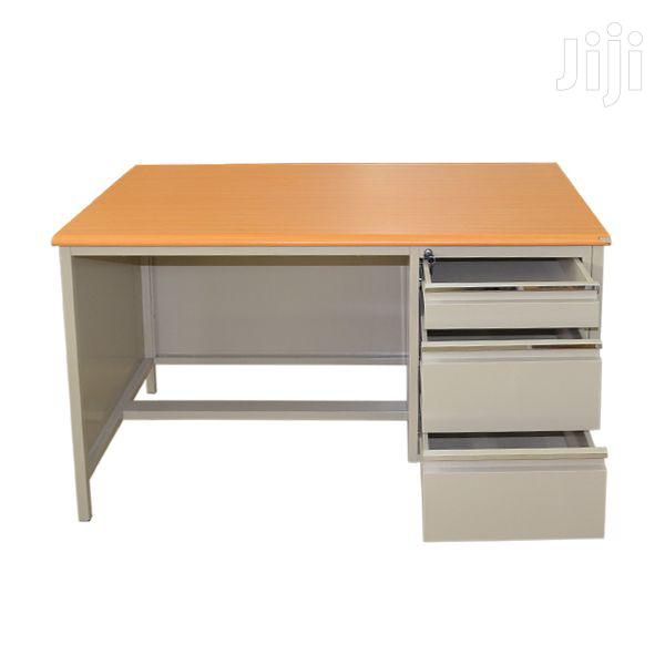 Office Desk With Wooden Top Metal Base
