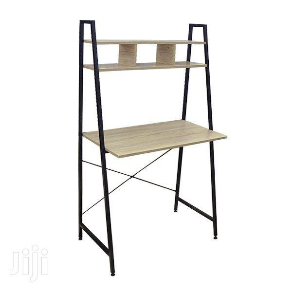 Wooden Writing Desk With Metal Stand