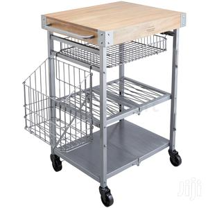 Industrial Kitchen Folding Kitchen Trolley With Mango Wood