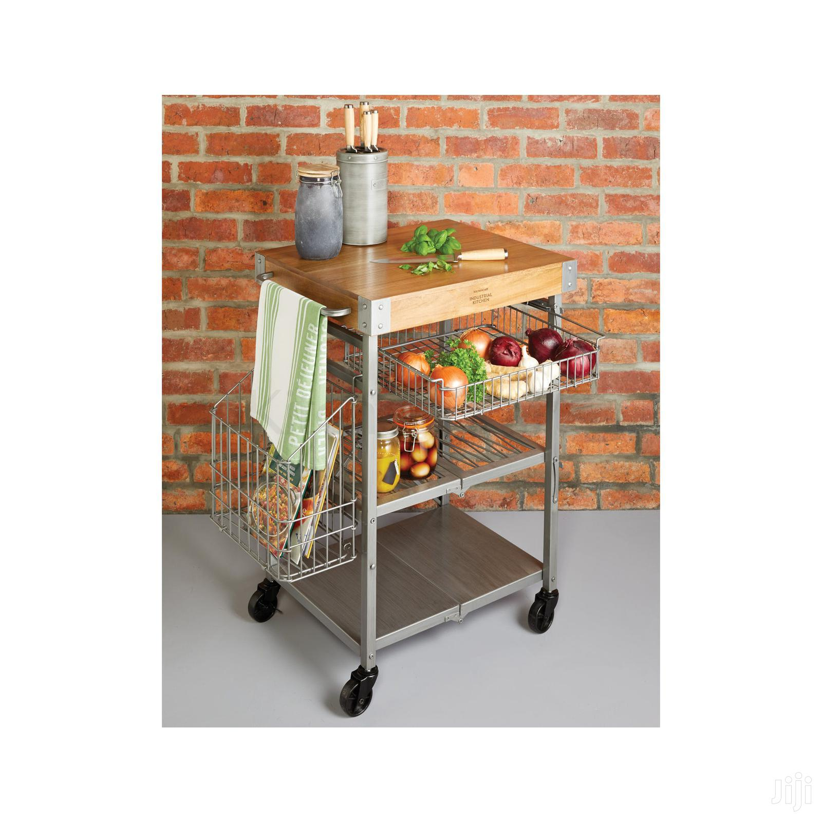 Industrial Kitchen Folding Kitchen Trolley With Mango Wood | Furniture for sale in Adenta Municipal, Greater Accra, Ghana