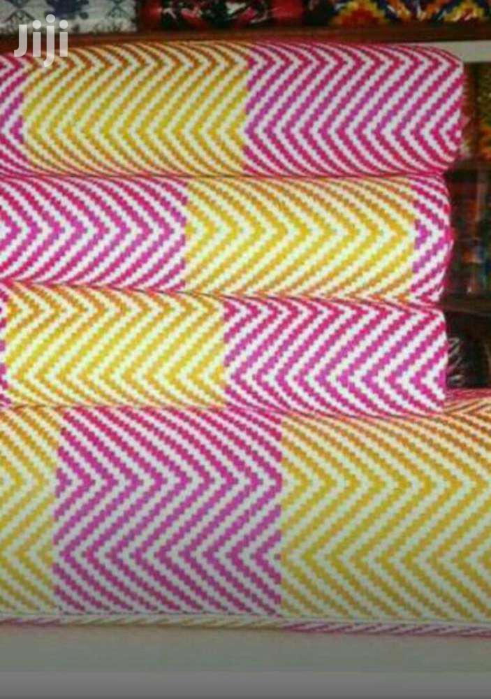 New Bonwire White, Gold N Hot Pink Kente Cloth