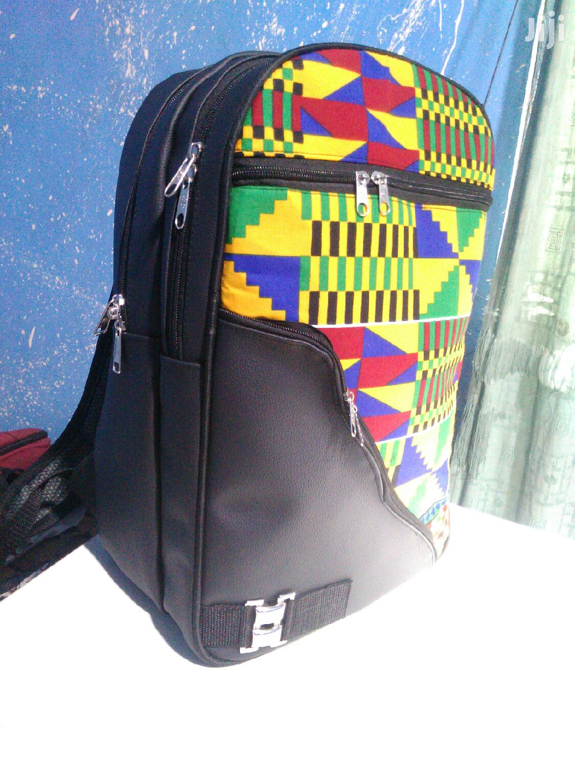 Quality Kente + Black Leather Backpack | Bags for sale in Achimota, Greater Accra, Ghana