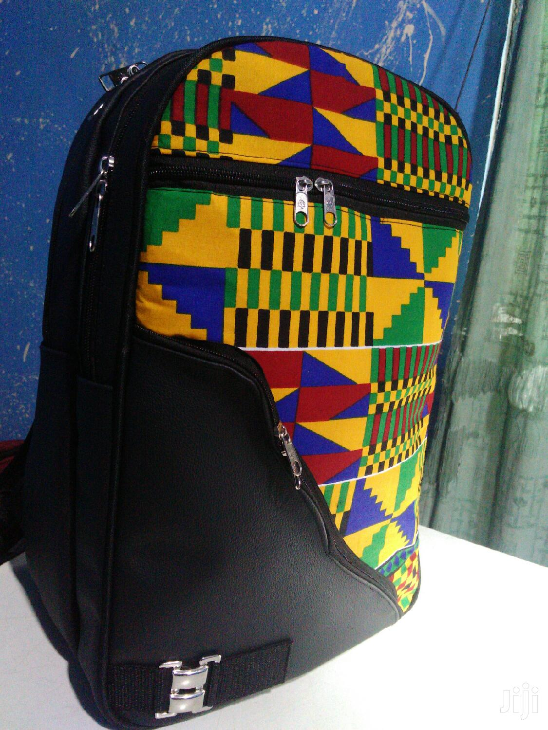 Quality Kente + Black Leather Backpack