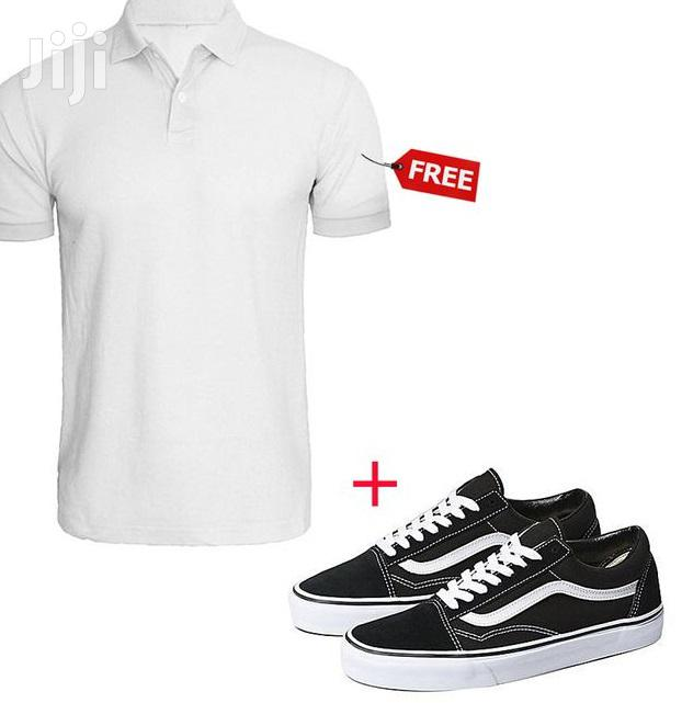 Archive: Low Top Lace-Up Sneakers - Black/White + Free Polo Shirt