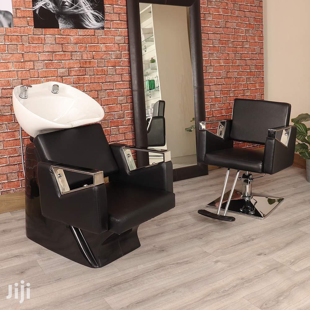 Black Hair Salon Wash Basin and Chair Set