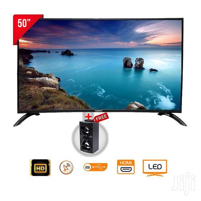 """Nasco Digital Satellite TV - 50"""" Black + Nasco SW-100 Speaker"""