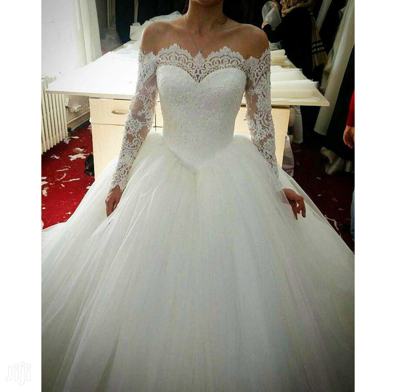 Archive: Long Sleeve Off-Shoulder Ball Wedding Gown
