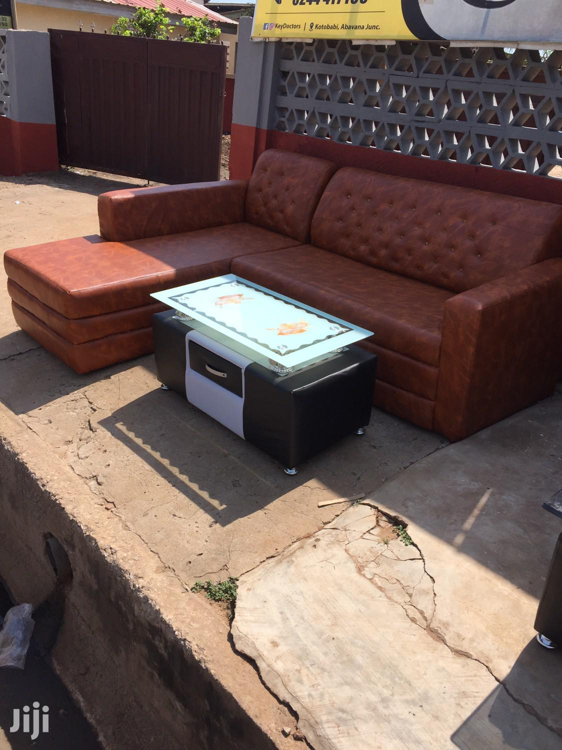 Quality Leathered L Shape Sofa With Center Table for Sell. | Furniture for sale in Airport Residential Area, Greater Accra, Ghana