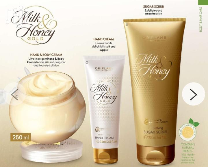 Milk Honey Gold Scrub and Hand Body Lotion | Skin Care for sale in Adenta Municipal, Greater Accra, Ghana