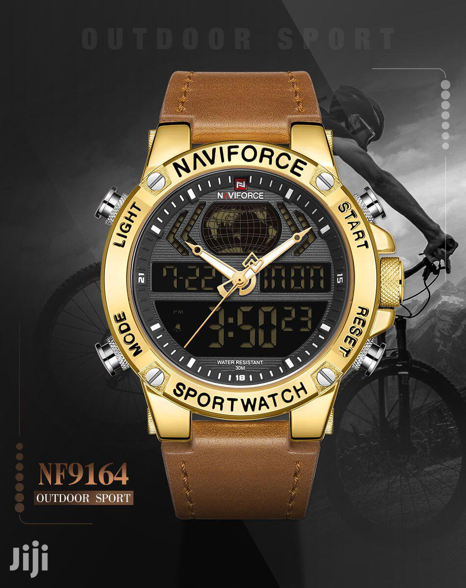 NAVIFORCE Dual Display Mens Leather Analog Digital Watches | Watches for sale in Achimota, Greater Accra, Ghana