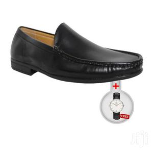 Classic Leather Loafers + Free Watch - Black | Shoes for sale in Greater Accra, Adabraka