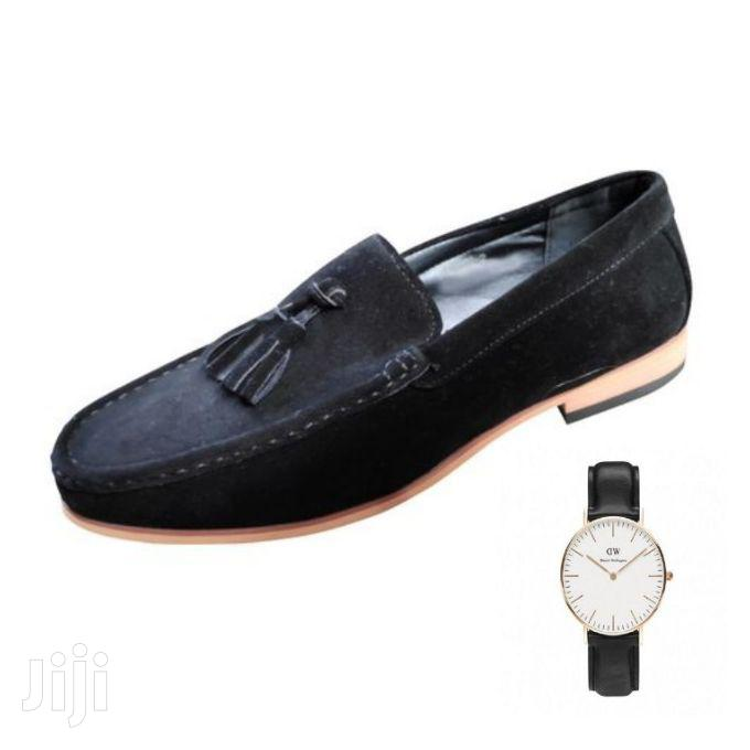 Jemson Tassel Suede Loafers + Free Watch - Black
