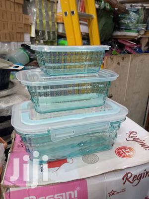 Plastic Storage Bowls - 3 Pieces Blue/White