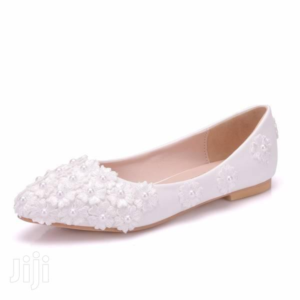 White Lace Wedding Flat Shoes | Wedding Wear & Accessories for sale in Achimota, Greater Accra, Ghana