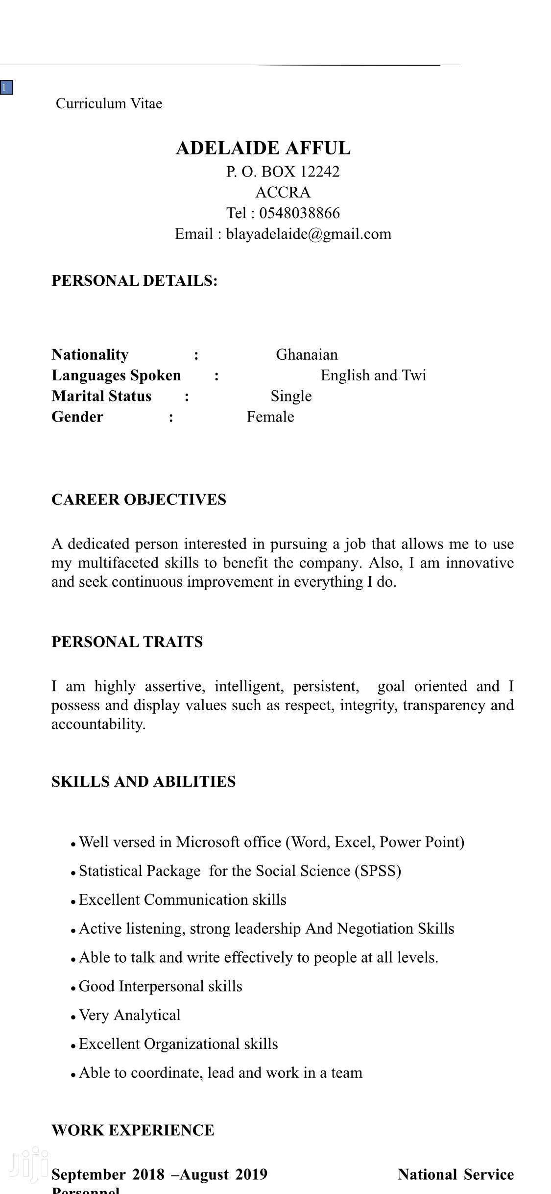 Clerical & Administrative CV
